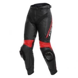 Dámské kožené moto kalhoty Dainese DELTA 3 LADY černá/fluo-červená