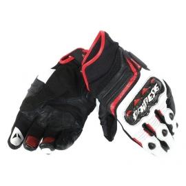 Pánské sport moto rukavice Dainese CARBON D1 SHORT černá/bílá/červená, kůže (pár)