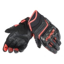 Pánské sport moto rukavice Dainese CARBON D1 SHORT černá/fluo červená, kůže (pár)