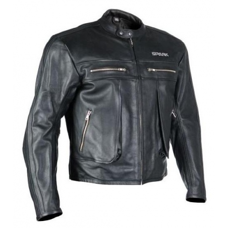 Pánská kožená moto bunda Spark Classic, černá