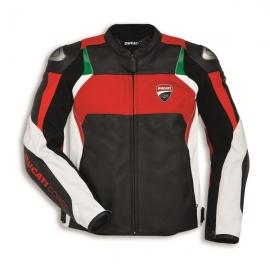 Pánská kožená bunda Ducati Corse C3 červeno-bílá