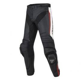 Pánské kalhoty na motorku Dainese MISANO PERF. (letní verze) černá/bílá/fluo červená, kůže