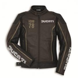 Pánská kožená bunda Ducati IOM 78 C1 černo-hnědá