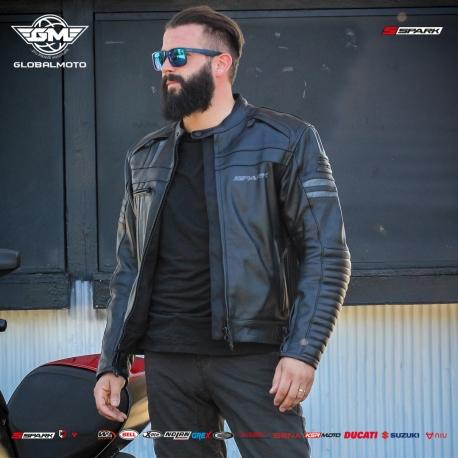 Pánská kožená moto bunda Spark Brono Evo Black - M