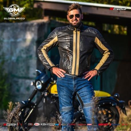 Pánská kožená moto bunda Spark Hector, hnědá