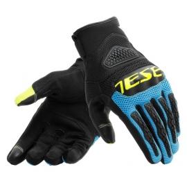 Letní moto rukavice Dainese BORA černá/modrá/fluo žlutá, textil