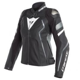 Dainese AVRO 4 LADY dámská kožená bunda na motorku, černá matná/bílá