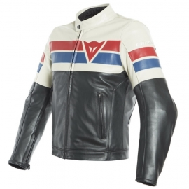 Dainese 8-TRACK pánská kožená bunda na motorku, černá/bílá/červená kůže