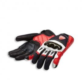 Pánské kožené rukavice Ducati Company C1 červeno-bílo-černé, originál