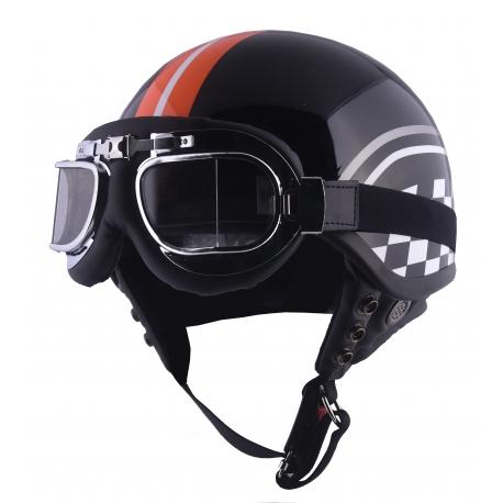 Moto helma Cyber U-62G Racing Flag, oranžová