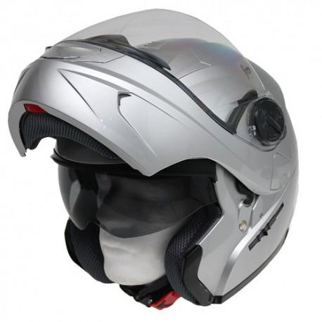 Moto helma Cyber U-217 stříbrná - L