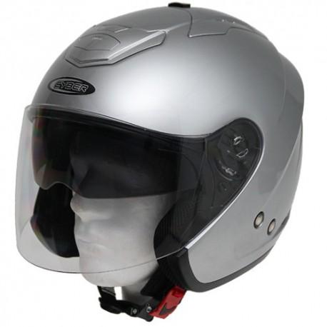 Moto helma Cyber U-386 stříbrná