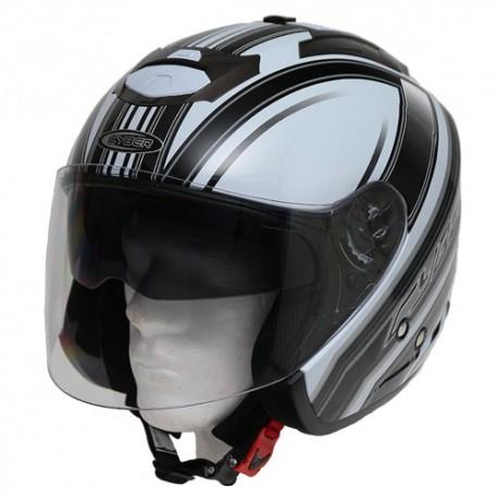 Moto helma Cyber U-386, bílo-šedá