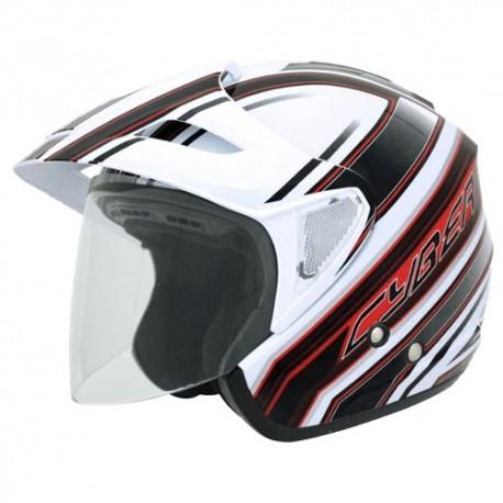 Moto helma Cyber U-388, bílo-červená