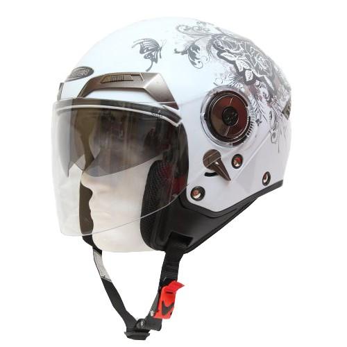 Moto helma Cyber U-44, bílá s růžemi