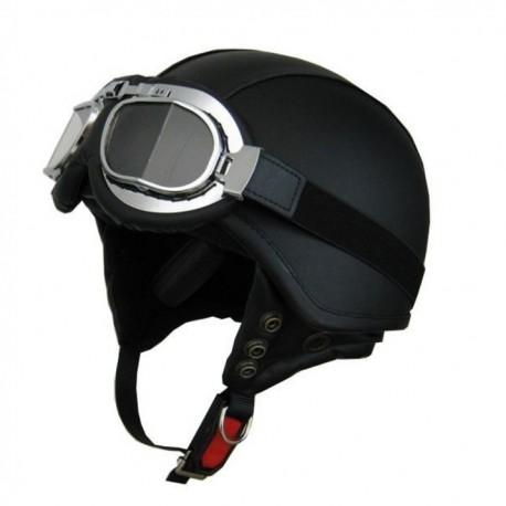 Moto helma Cyber U-62G kožená s brýlemi, černá