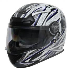 Moto helma Cyber US-100, bílo-modrá