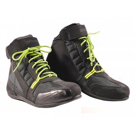 Cestovní kožené moto boty Spark Osprey nízké, černé-fluo