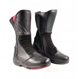 Cestovní kožené moto boty Spark Silia dámské, černo-růžové