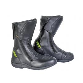 Cestovní kožené moto boty Spark Tempi, černé-fluo