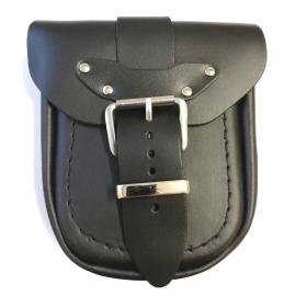 Kožená moto kapsa TechStar hladká, černá