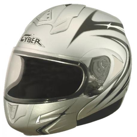 Moto helma Cyber U-216, stříbrná