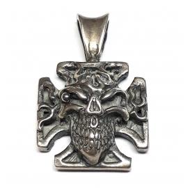 Přívěšek na řetízek TechStar motiv maltézský kříž s lebkou v plamenech