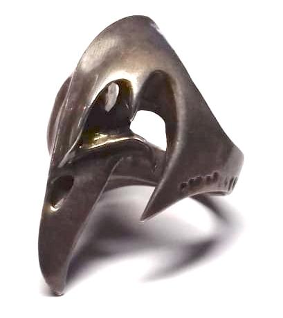 Pánský prstýnek s motivem lebka + zobák, 23 mm