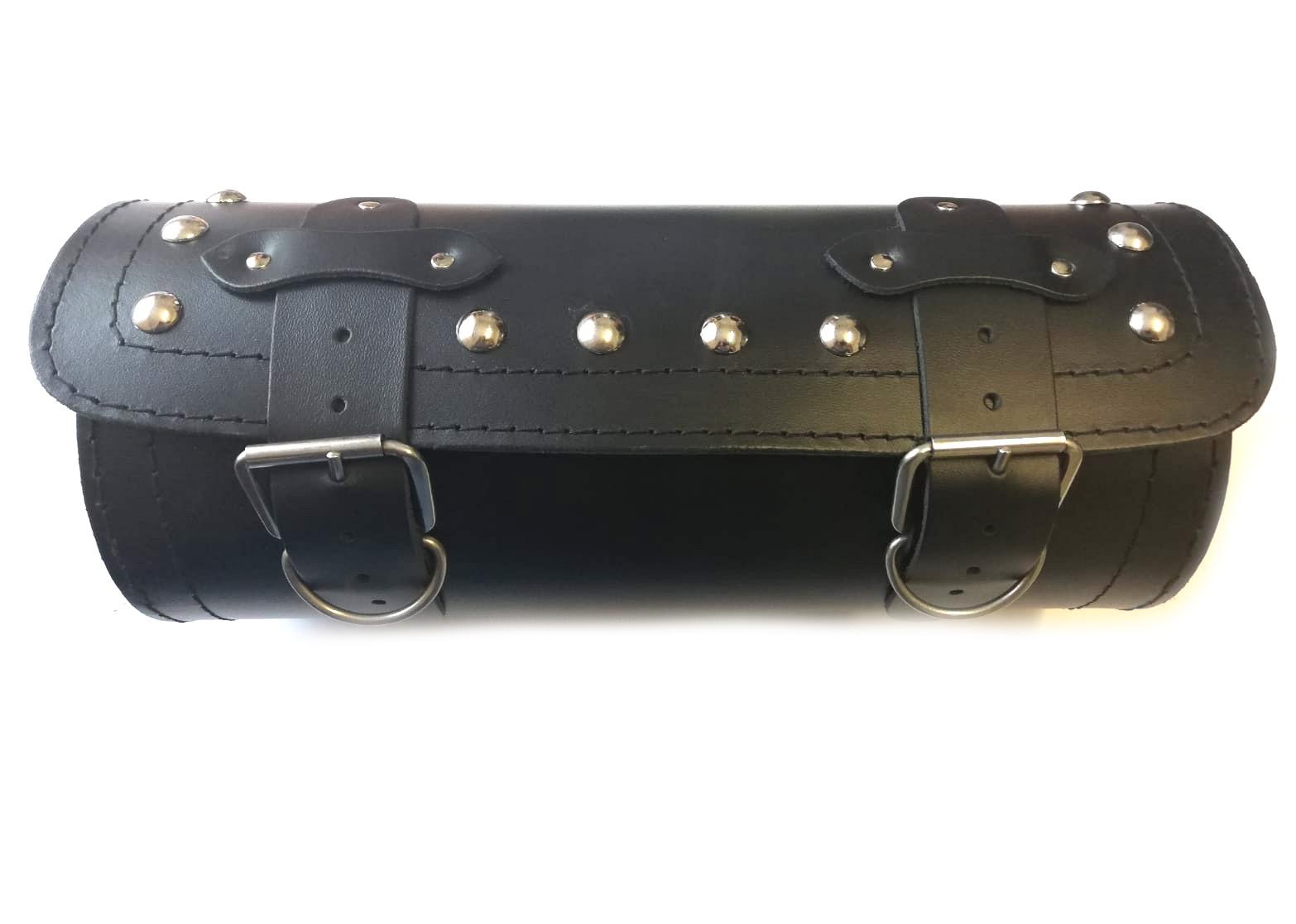 Kožená moto brašna TechStar válec na tříkolky zdobený cvoky, černý