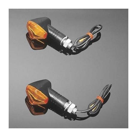 Moto blinkry Highway Hawk HEXAGON s krátkou nožičkou, E-mark, černá 2 ks