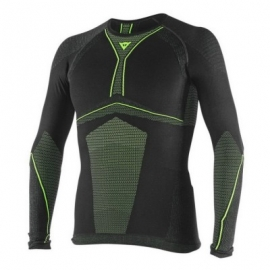 Pánské termoaktivní letní tričko Dainese D-CORE DRY TEE LS, černo-fluo
