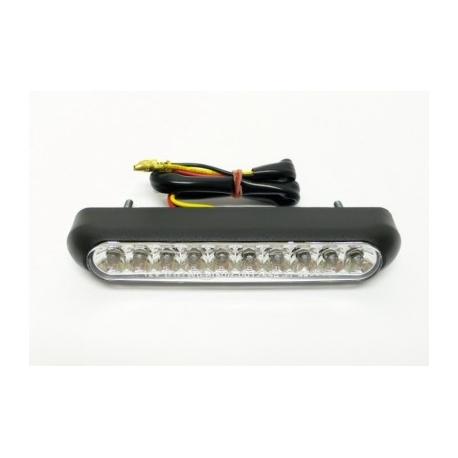 Koncové světlo na motorku Highway Hawk OVAL s LED, osvětlení SPZ, E-mark, černá, 1ks