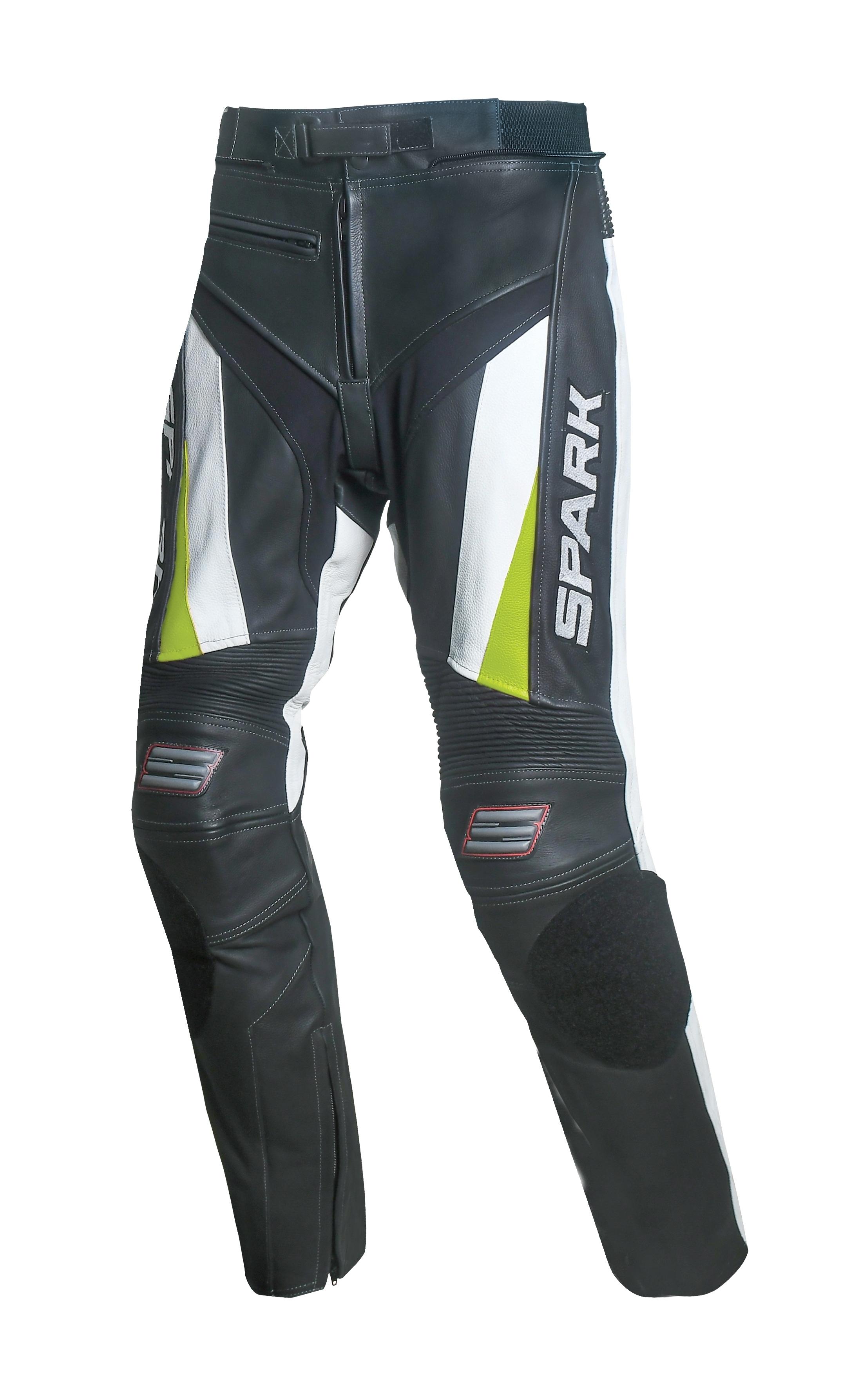 Pánské kožené moto kalhoty Spark ProComp Evo, bílé - poškozené