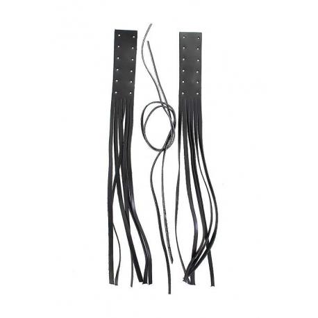 Kožené třásně Bikersmode na páčky 45 cm, černé