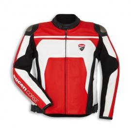Pánská kožená bunda Ducati Corse C4, červeno-bílá