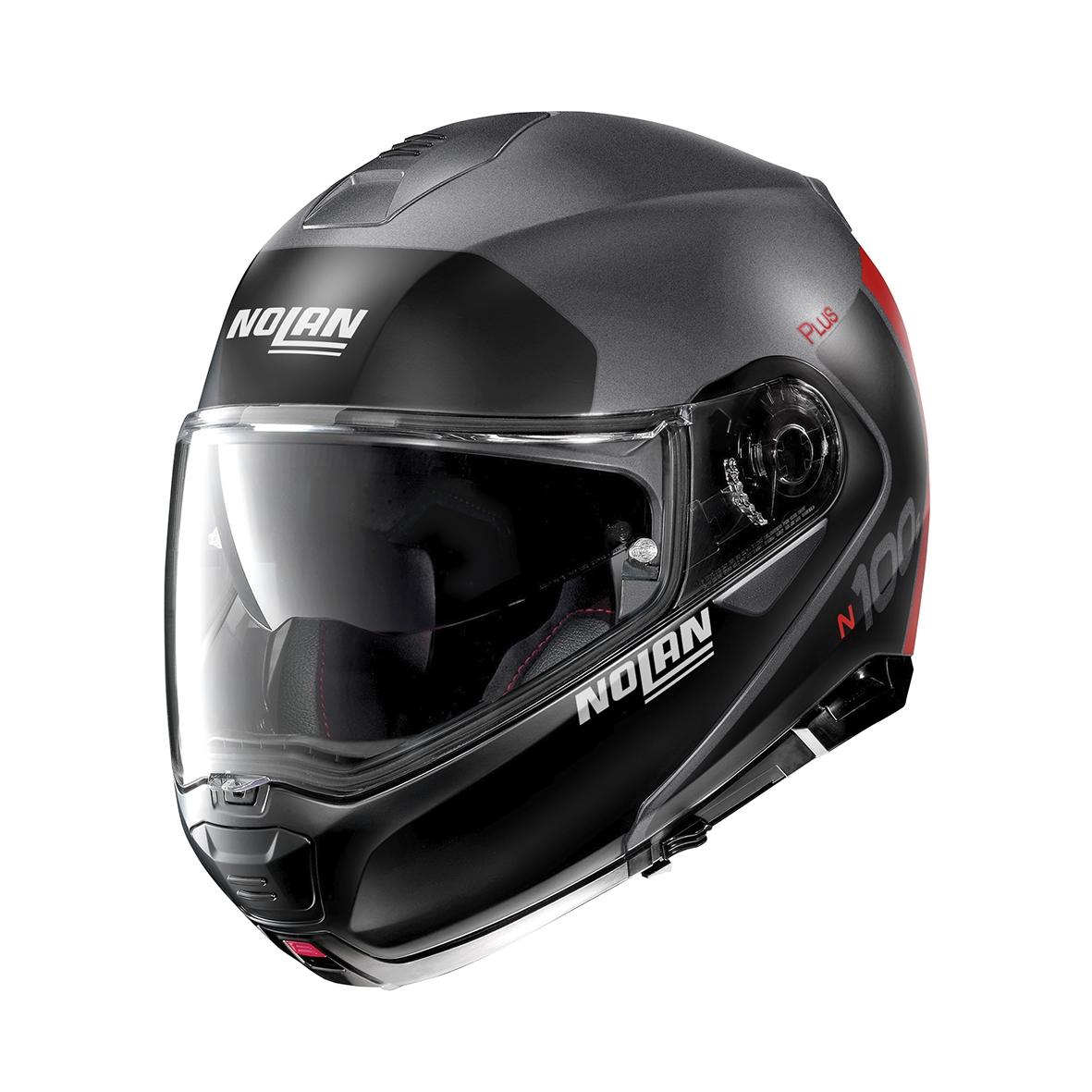 Moto helma Nolan N100-5 Plus Distinctive N-Com Flat Lava Grey 24