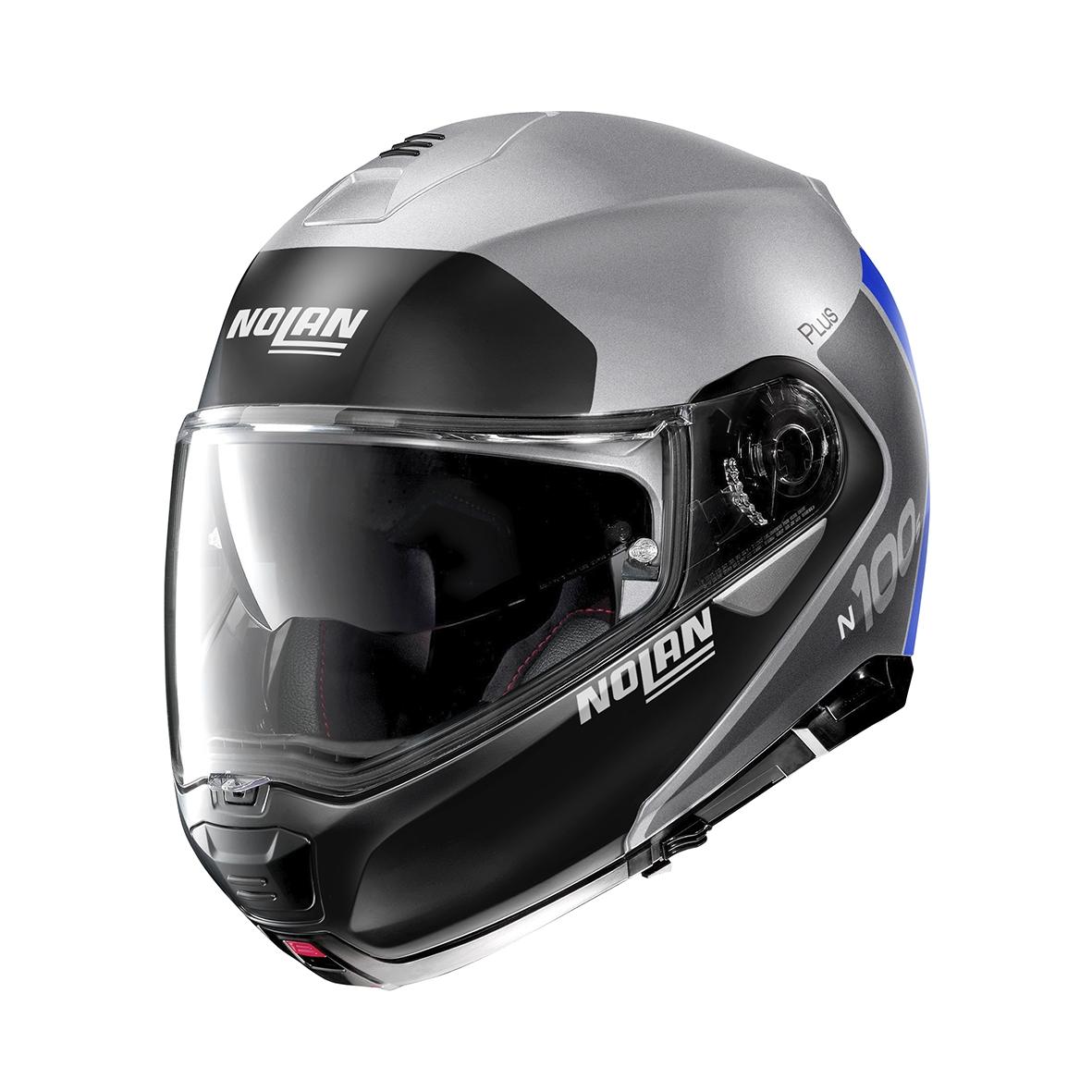 Moto helma Nolan N100-5 Plus Distinctive N-Com Flat Silver 30