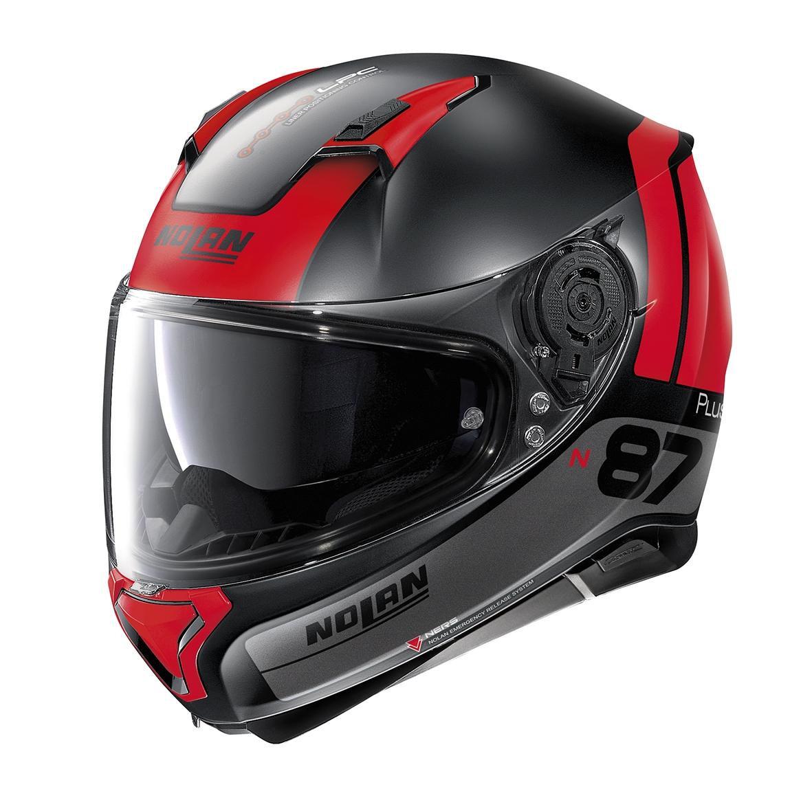 Moto helma Nolan N87 Plus Distinctive N-Com 24 černo/červená