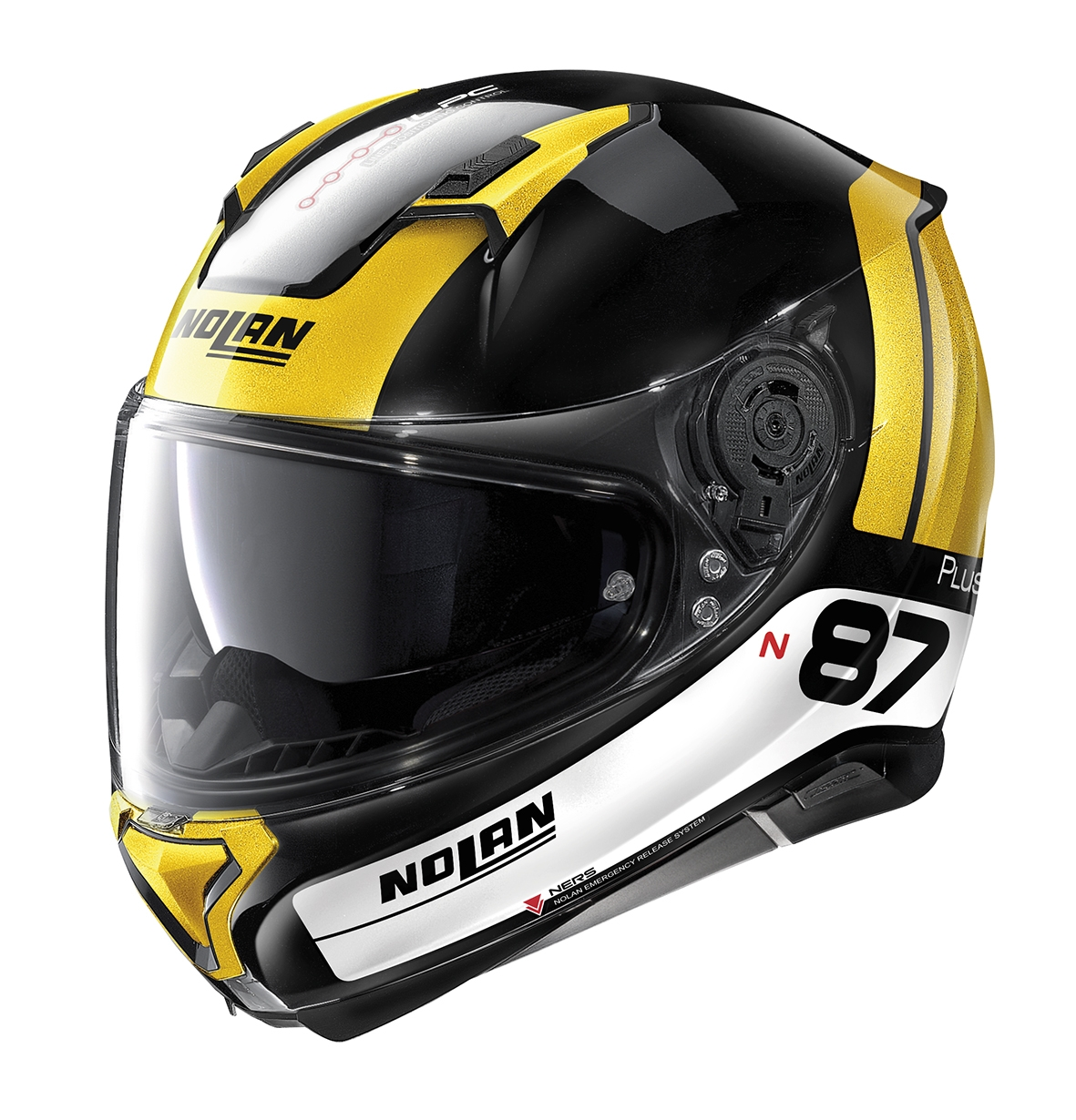 Moto helma Nolan N87 Plus Distinctive N-Com 27 žlutá