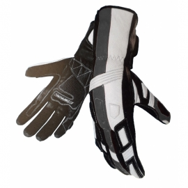 Pánské kožené moto rukavice Spark Tampa, stříbrné