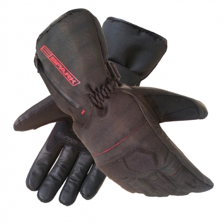 Pánské kožené moto rukavice Spark STZ, černé