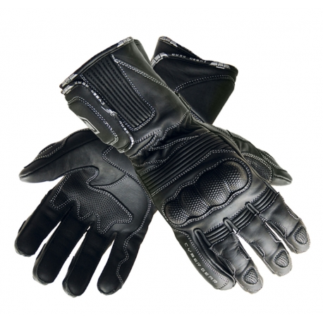 Kožené moto rukavice Cyber Gear Bull Leatehr Sport černé - 2XS