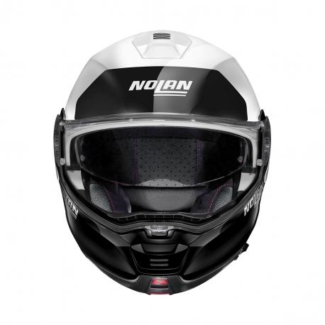 Moto helma Nolan N100-5 Plus Distinctive N-Com Metal White 22