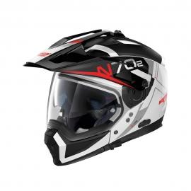 Moto helma Nolan N70-2 X Bungee N-Com Metel White 39