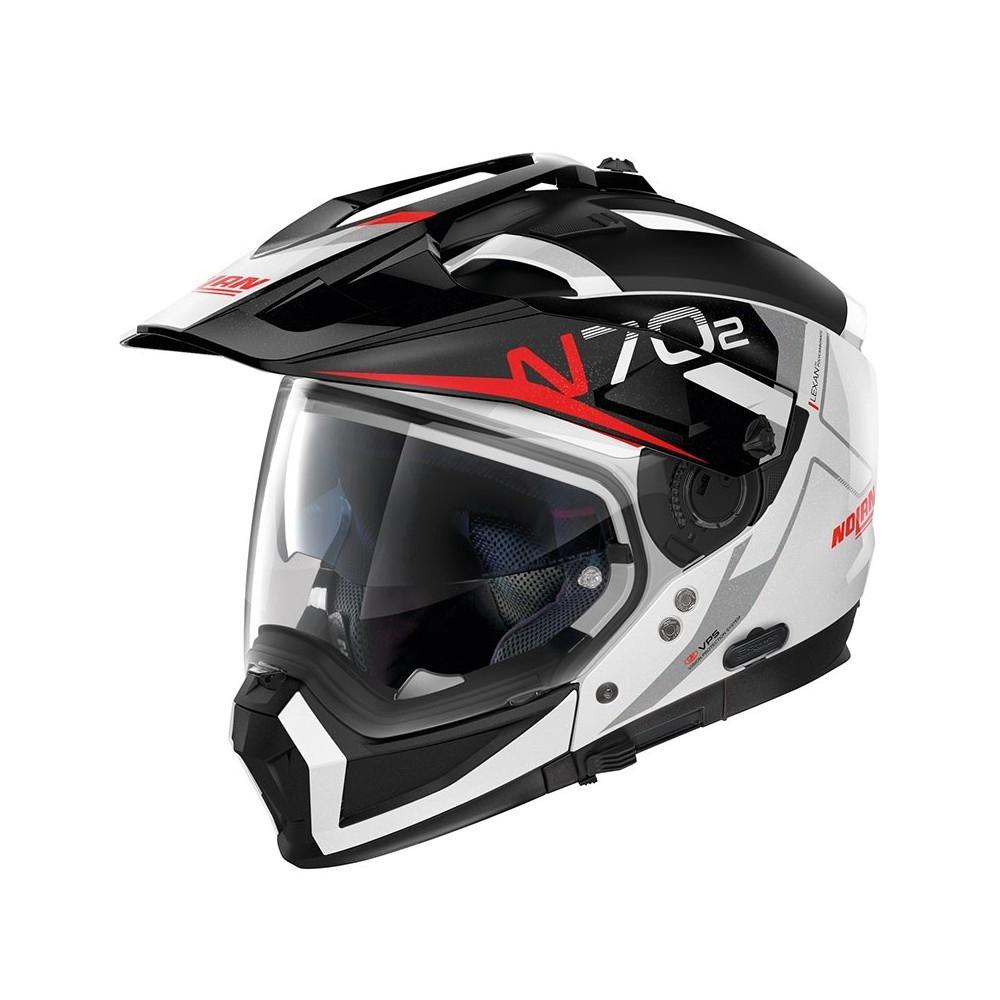 Moto helma Nolan N70-2 X Bungee N-Com Metal White 39