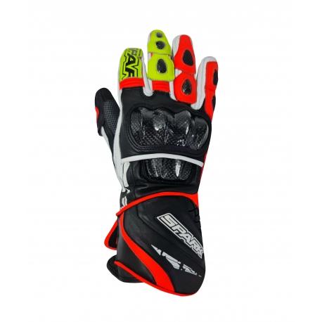 Pánské kožené moto rukavice Spark Apex, červené