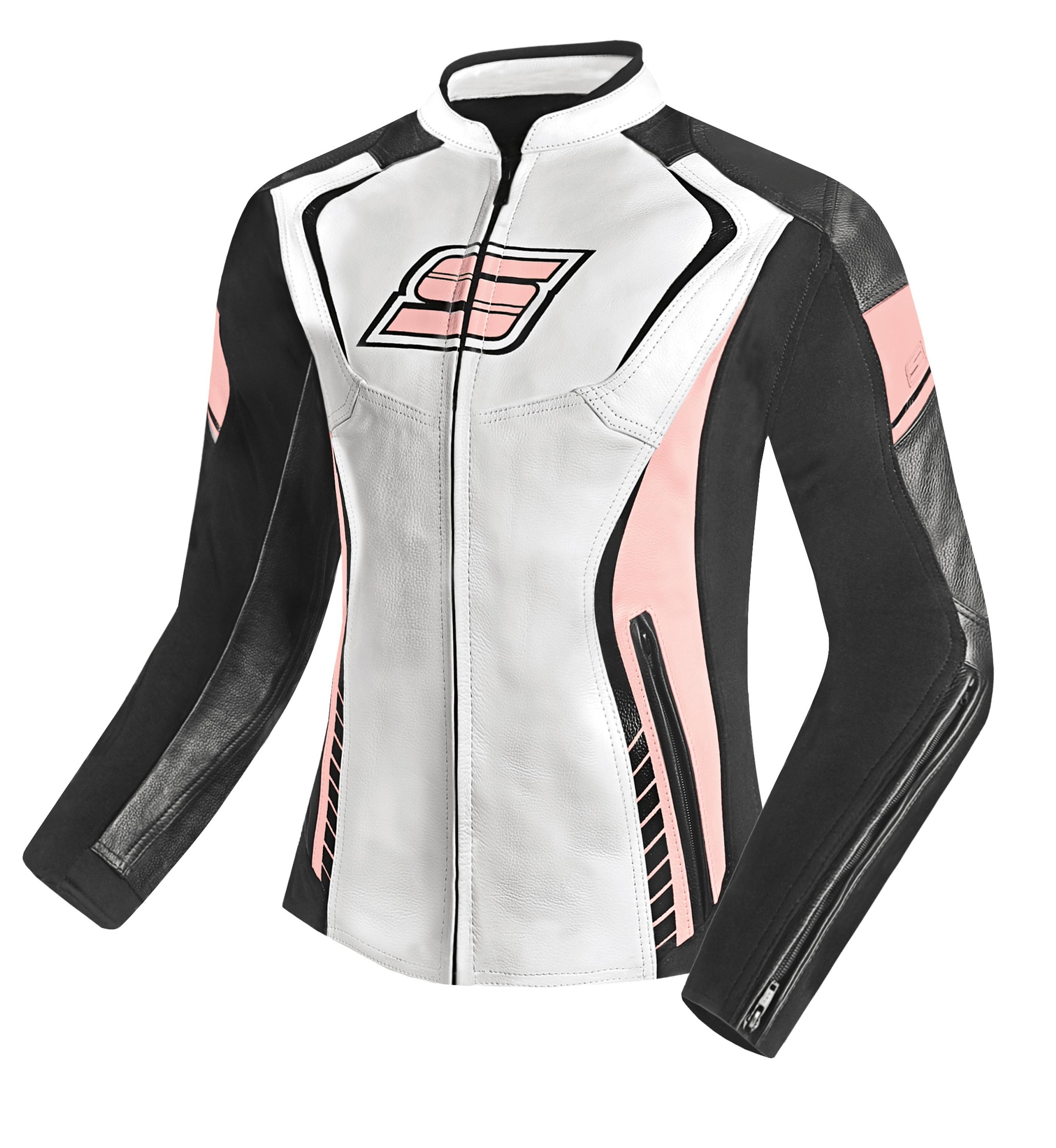 Dámská kožená moto bunda SPARK LINA, růžová
