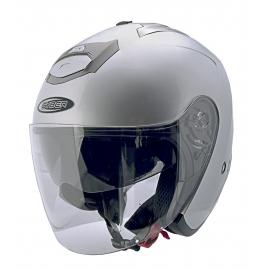 Moto helma Cyber U-386, stříbrná